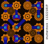 seamless cogwheel pattern with... | Shutterstock .eps vector #113221819