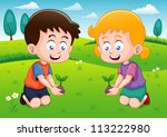 little kids is planting small... | Shutterstock .eps vector #113222980