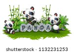 panda are playing together in... | Shutterstock .eps vector #1132231253
