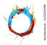 Colored paints splashes circle, isolated on white background - stock photo
