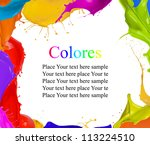 Colored splashes background with free space for text - stock photo