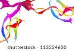 Colored paint splashes design isolated on white background - stock photo