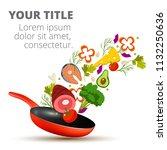 healthy vegetables cooking in... | Shutterstock .eps vector #1132250636