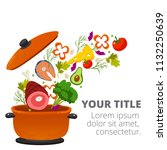 healthy vegetables cooking in... | Shutterstock .eps vector #1132250639