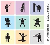 set of 9 simple editable icons... | Shutterstock .eps vector #1132254560
