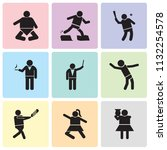 set of 9 simple editable icons... | Shutterstock .eps vector #1132254578