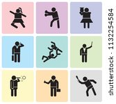 set of 9 simple editable icons... | Shutterstock .eps vector #1132254584