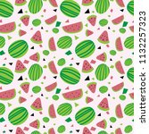 watermelon seamless pattern... | Shutterstock .eps vector #1132257323