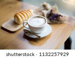 selective focus white cup of... | Shutterstock . vector #1132257929