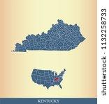 kentucky county map vector... | Shutterstock .eps vector #1132258733
