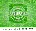 january realistic green emblem. ... | Shutterstock .eps vector #1132271873