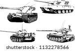 powerful tank with a gun drawn... | Shutterstock .eps vector #1132278566