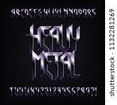 heavy metal alphabet font.... | Shutterstock .eps vector #1132281269