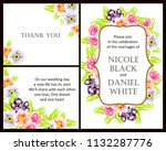 invitation with floral... | Shutterstock . vector #1132287776