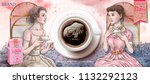 coffee beans ads with retro... | Shutterstock .eps vector #1132292123