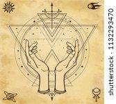 mysterious drawing  human hands ... | Shutterstock .eps vector #1132293470