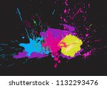 brigh paint spots on a black... | Shutterstock .eps vector #1132293476