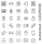 thin line vector icon set   pen ... | Shutterstock .eps vector #1132296530