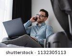 businessman using smart phone... | Shutterstock . vector #1132305113