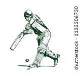 vector sketch the cricket player | Shutterstock .eps vector #1132306730