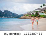 kids having fun at tropical... | Shutterstock . vector #1132307486