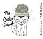 Stock vector cute cat vector 1132309526