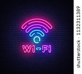 wifi neon sign vector. wifi... | Shutterstock .eps vector #1132311389