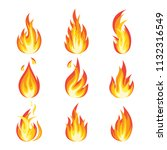 fire flames set. bright light ... | Shutterstock .eps vector #1132316549