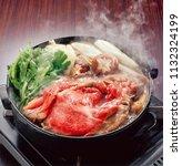 sukiyaki is a popular one pot...   Shutterstock . vector #1132324199