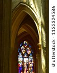 Small photo of Triel sur Seine, France - june 6 2018 : the gothic and renaissance Saint Martin church stained glass window