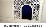 a window with a night sky  an... | Shutterstock . vector #1132365683