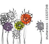 Art Sketching Flowers On White...