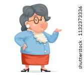 grandmother talking old wise... | Shutterstock .eps vector #1132373336