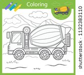coloring with draw mixer truck. ... | Shutterstock .eps vector #1132383110