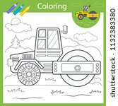 coloring with draw roller truck.... | Shutterstock .eps vector #1132383380