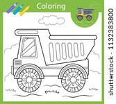 coloring with draw truck.... | Shutterstock .eps vector #1132383800