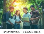 a group of asian student was... | Shutterstock . vector #1132384016