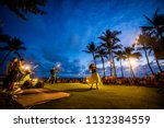 hawaiian hula dance at waikiki... | Shutterstock . vector #1132384559
