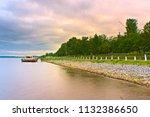 the shore of the volga river on ... | Shutterstock . vector #1132386650