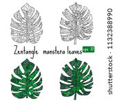 tropical monstera leaves in... | Shutterstock .eps vector #1132388990