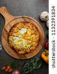 pizza with egg ham and mushrooms   Shutterstock . vector #1132391834