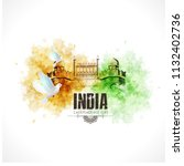 happy independence day india ... | Shutterstock .eps vector #1132402736