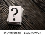 stack of question mark cards on ... | Shutterstock . vector #1132409924