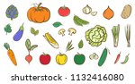 mix vegetables collection  cute ... | Shutterstock .eps vector #1132416080