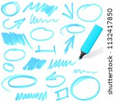 blue colored highlighter with... | Shutterstock .eps vector #1132417850