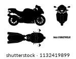black silhouette of motorcycle. ... | Shutterstock . vector #1132419899