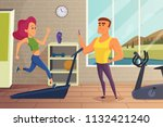 girl on running track. fitness... | Shutterstock .eps vector #1132421240