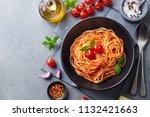 pasta  spaghetti with tomato... | Shutterstock . vector #1132421663