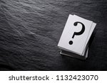 stack of question mark cards on ... | Shutterstock . vector #1132423070