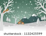 Deer Family With Winter Snow I...